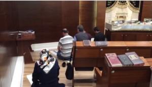 Muslim tourists praying in Ben Gurion Airport synagogue