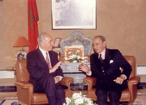 Peres with King Hassan of Morocco
