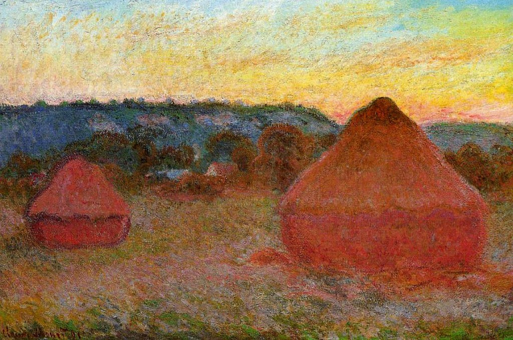 """Claude Monet's """"Grainstacks at the End of the Day"""" puts us in mind of the Sukkot holiday, a time of harvest. Samson Raphael Hirsch, a 19th century German rabbi, sees the word """"atzeret"""" in the holiday Shemini Atzeret as """"a gathering"""" or """"storing up"""" not of crops, but of the gratitude and devotion we've developed over the course of the holiday season. We should time-release these qualities into the activities we undertake over the course of the year."""
