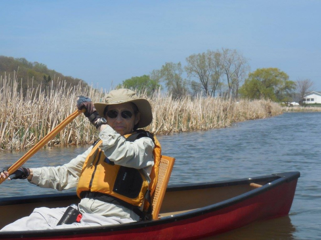 B.J. Yudelson in the solo canoe she loved three months before she died.