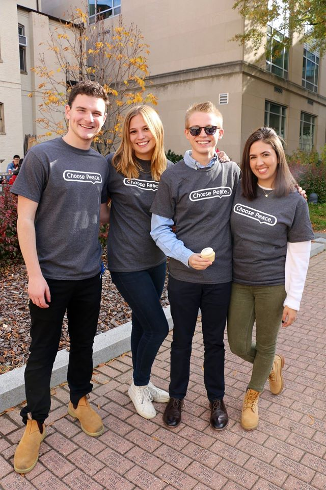 The group of activists who started the Choose Peace initiative at GW. (left to right: Hillel Zand, Hannah Finkel, Jake Barnette (author), and Keren Azaria, the GW Israel fellow)