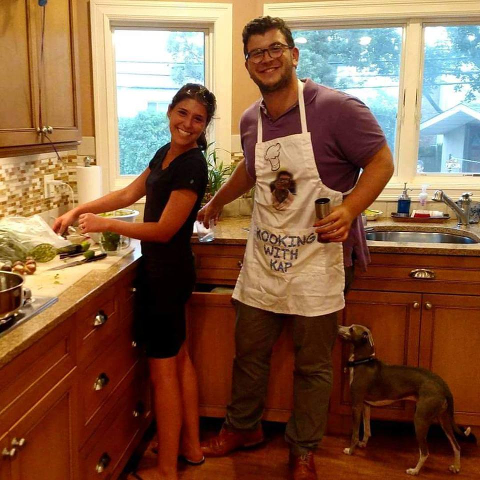 Max Kapelus in the kitchen with his wife Shani