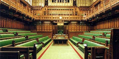 The House of Commons Chamber, Parliament of the United Kingdom.