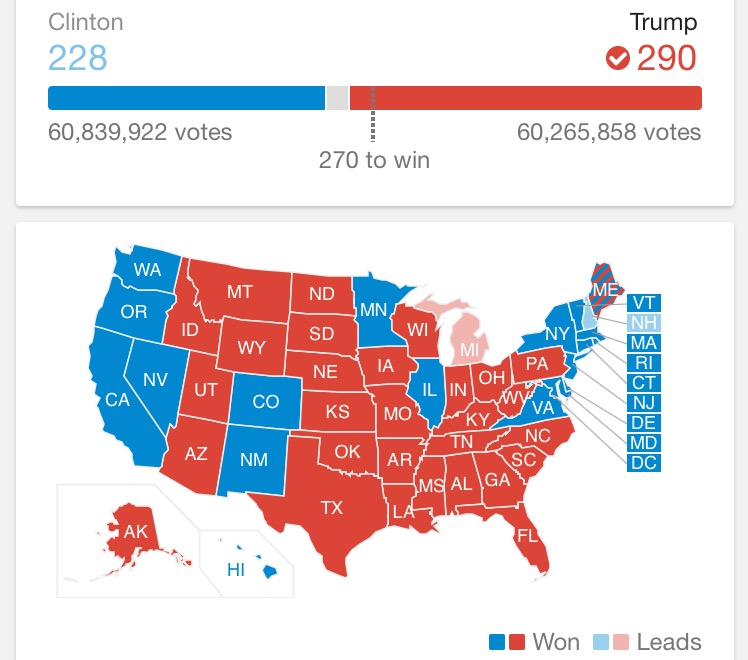 Current Presidential Election Results 2016. (Courtesy Google)