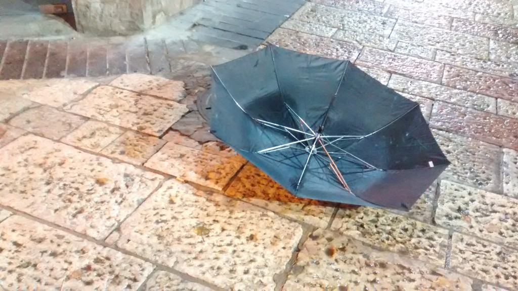 umbrella in the rain, Jerusalem