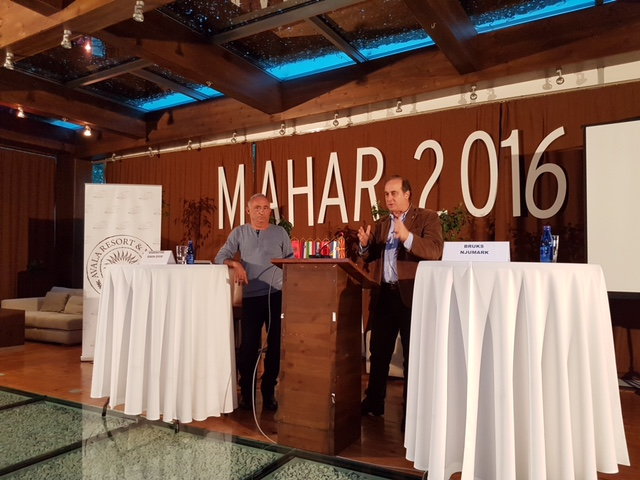 Giving Speech in Montenegro with Shimon Shiffer of Ynetnews