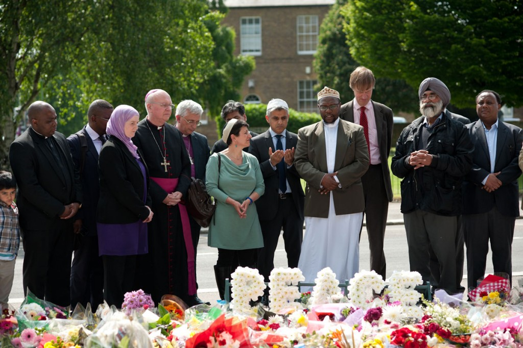 Faith leaders at Woolwich, following the murder of Lee Rigby