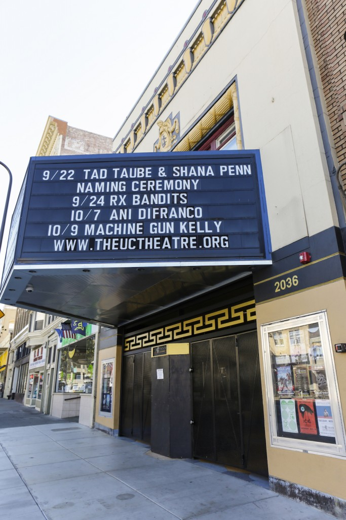 The marquis of The UC Theatre in Berkeley, announcing the unveiling of the Shana Penn Lobby honoring the Executive Director of the Taube Foundation for Jewish Life & Culture