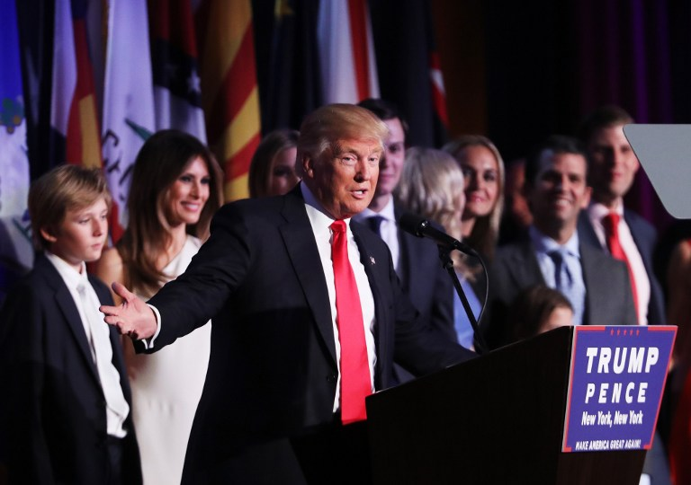 NEW YORK, NY - NOVEMBER 09: Republican president-elect Donald Trump delivers his acceptance speech during his election night event at the New York Hilton Midtown in the early morning hours of November 9, 2016 in New York City. Donald Trump defeated Democratic presidential nominee Hillary Clinton to become the 45th president of the United States. Spencer Platt/Getty Images/AFP