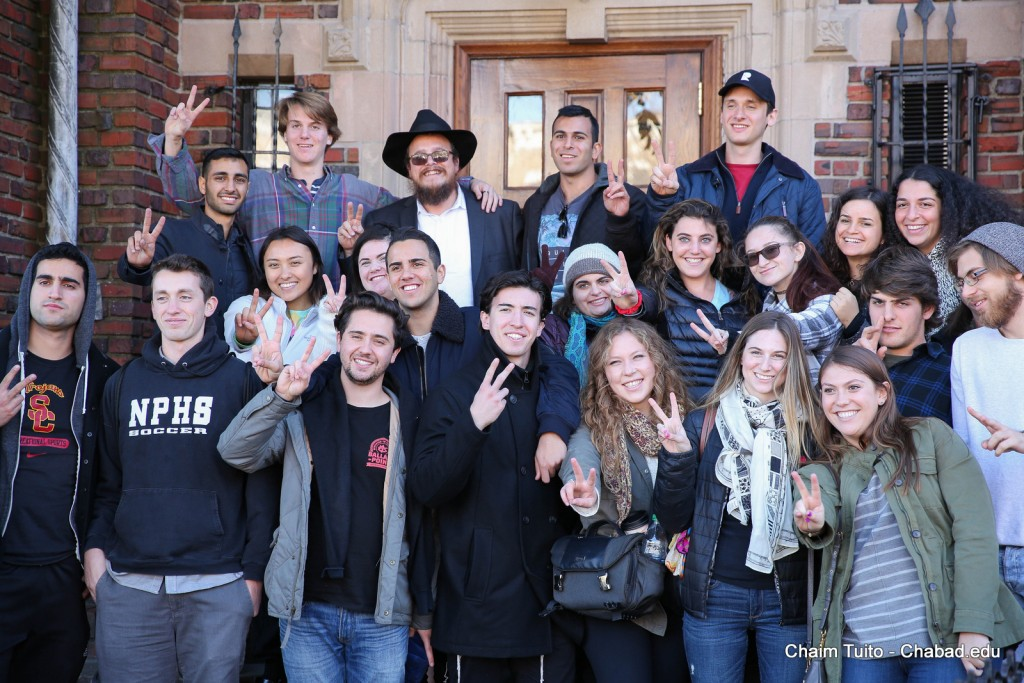 Rabbi Dov Wagner, co-director of Chabad at USC, poses with a group of students in New York at the 13th annual Chabad on Campus International student shabbaton.