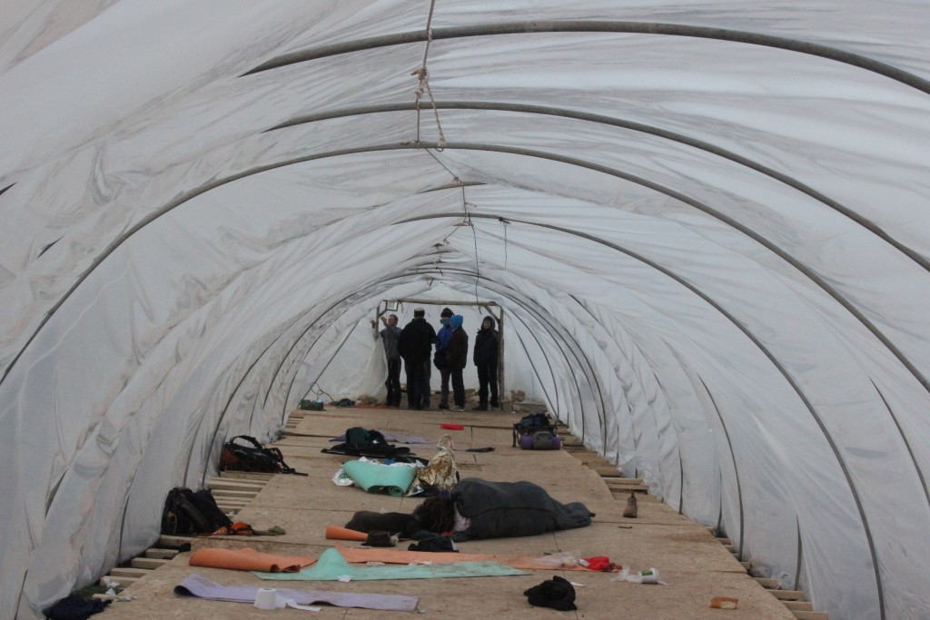 Repairs were made to the greenhouse shelters made for thousands of incoming supporters