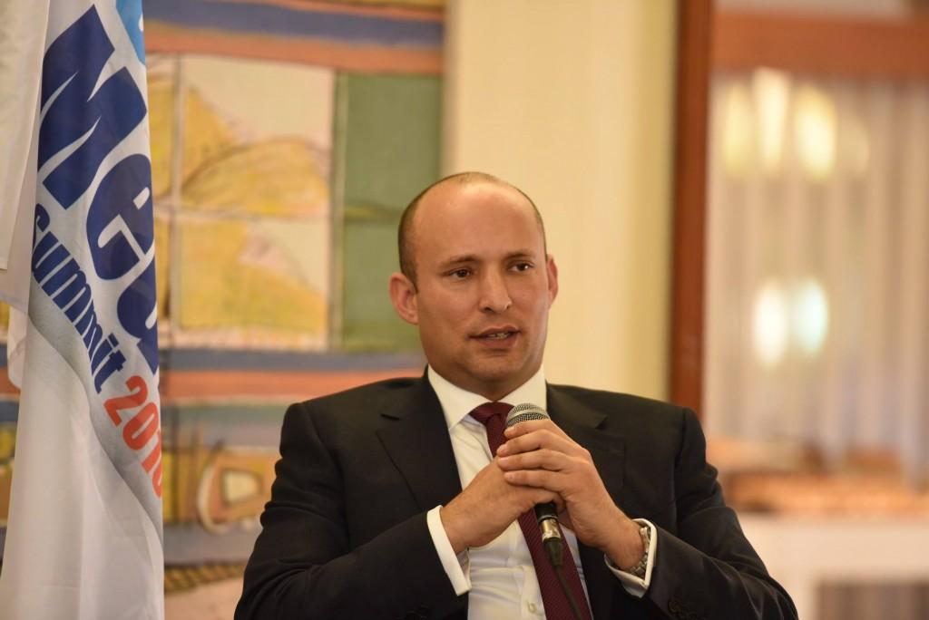 Naftali Bennett, Israel's minister of education and Diaspora affairs, speaking at the Jewish Media Summit in Jerusalem, Dec. 6, 2016. (Israeli Government Press Office)