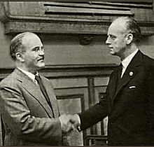 Ribbentrop (right) and Molotov at the signing of the Pact (PD via Wikipedia)