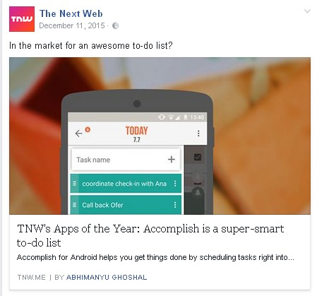 Accomplish as The Next Web's App of the Year