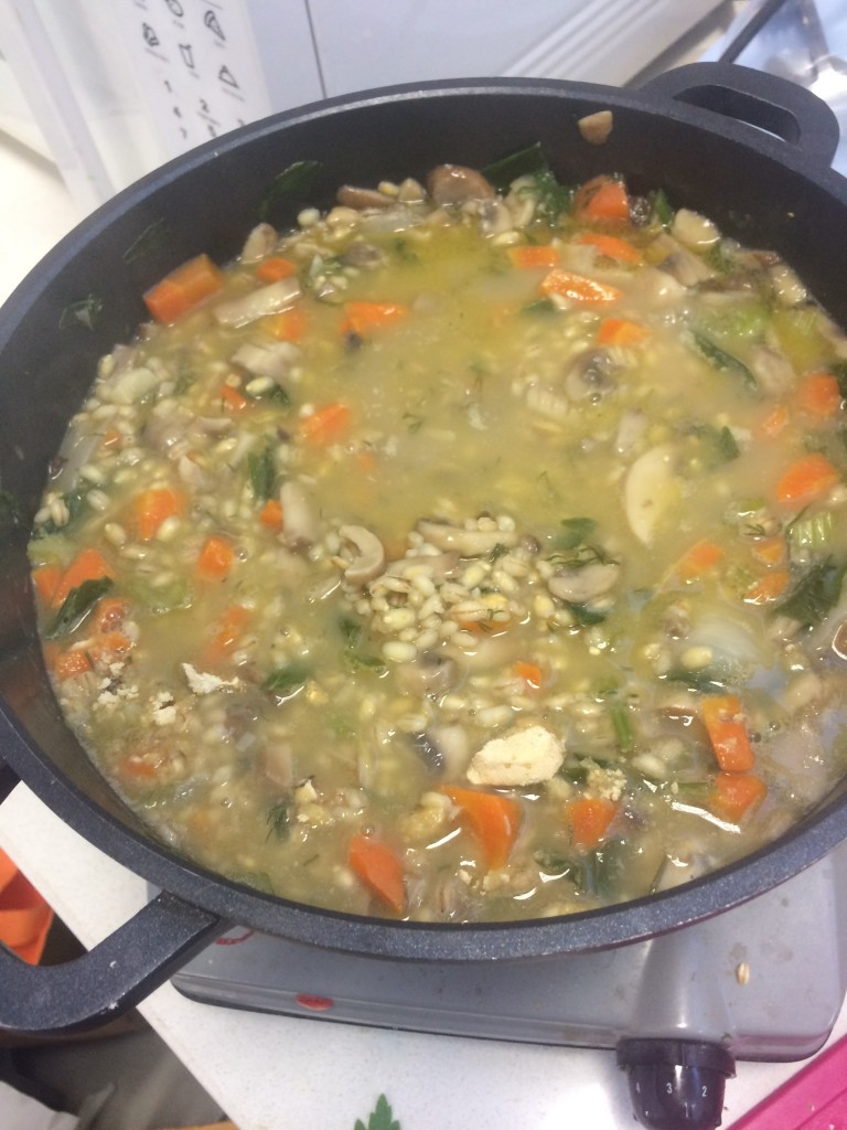 Mushroom Barley Soup inspired by the month Shevat.