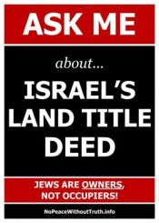 Israel Truth Week Poster: Ask Me About Israel's Land Title Deed