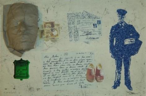 Post Man screenprint 2012 by ruth Schreiber