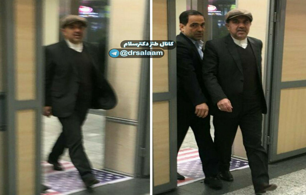 Iranian minister Akhoundi and Boeing's counterpart in a controversial deal, stepping over American flag