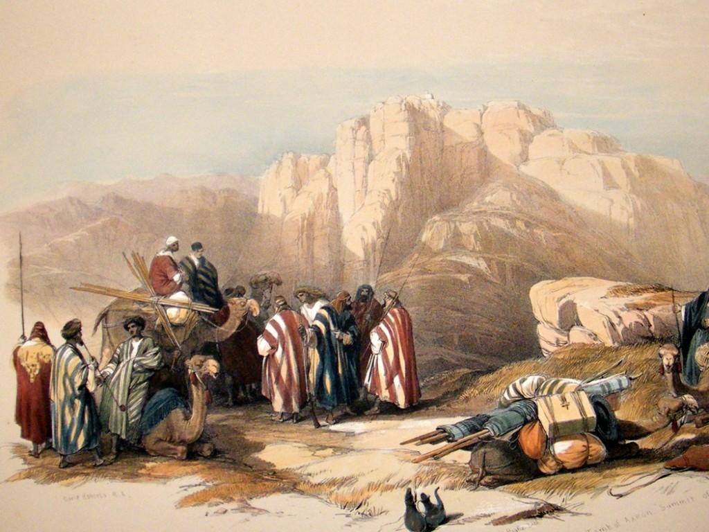 Scottish artist David Roberts' painting of the Mount of Aaron (1842)