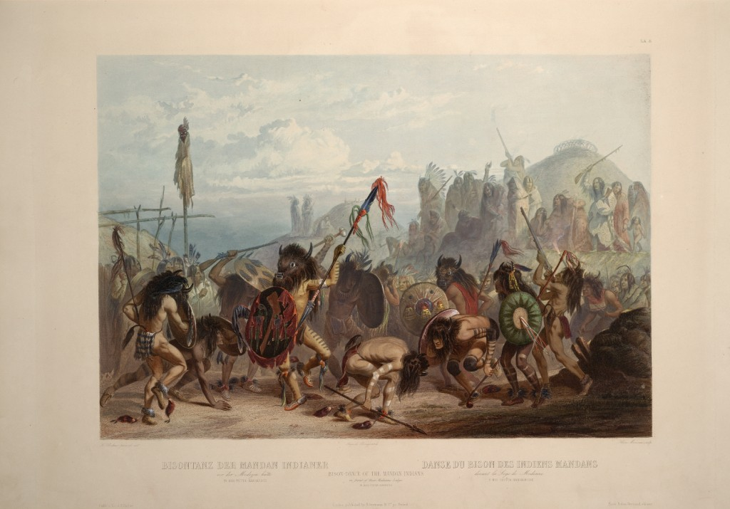 Bison-Dance of the Mandan Indians in front of their Medecine Lodge in Mih-Tutta-Hankush by Karl Bodner, c. 1834. Wikipedia.