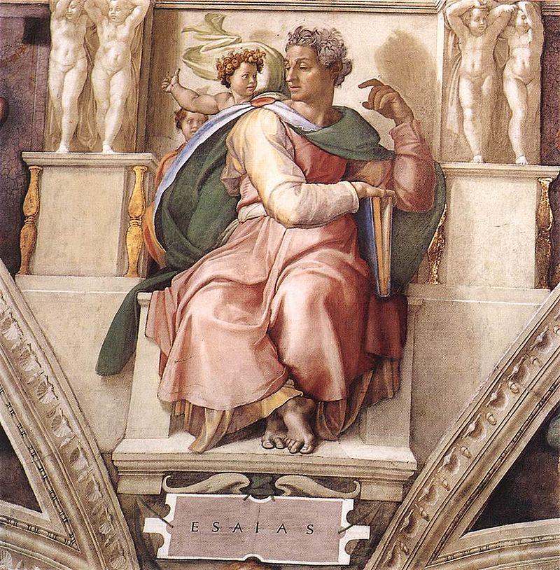 Michelangelo's Isaiah, Sisten Chapel (photo credit: Public domain via Wikimedia Commons)