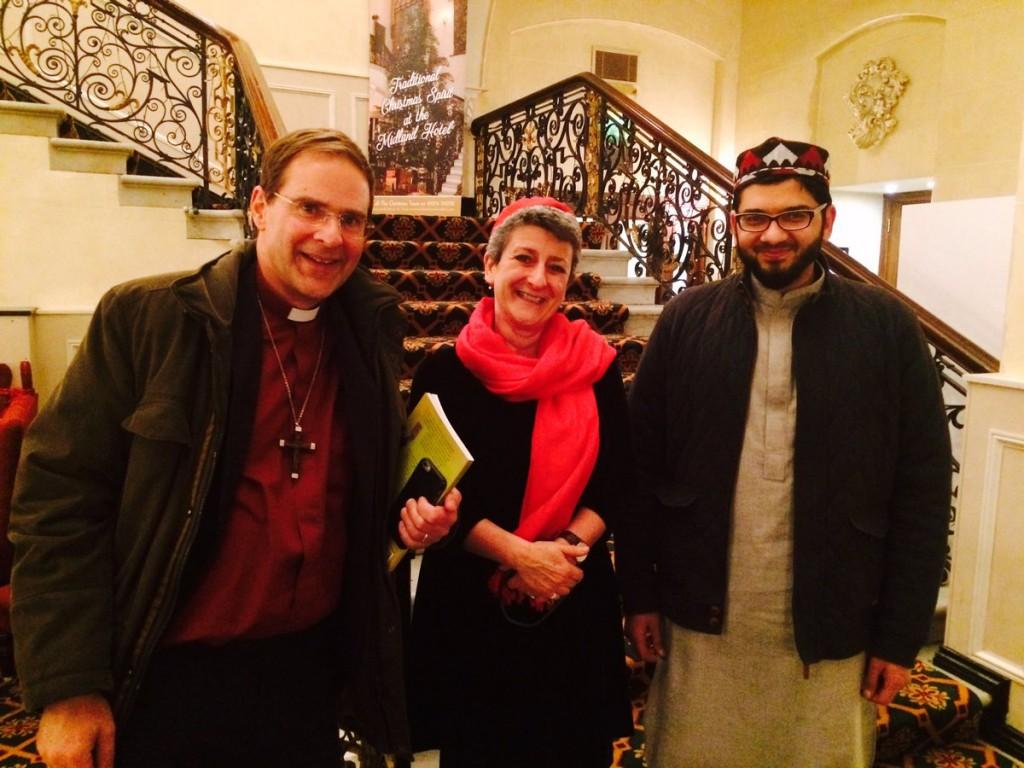 Rabbi Laura Janner-Klausner with, Bishop Toby Howarth and Imam Qari Asim.