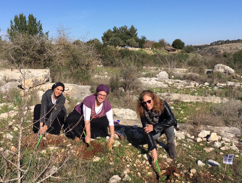The author, far right, plants saplings with her sisters.