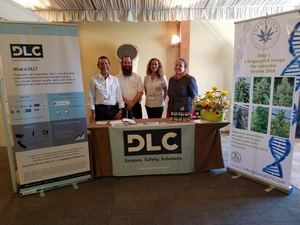 At the Can 10 Medical Cannabis Conference in Tel Aviv (Left to Right: Stephen Brenner, MD DLC Chairman, Shay Avraham Sarid- Seach Farms (Israel Cannabis Grower-DLC Advisory Board) Esti Ben-Ari (Genetics V) Dr. Michele Pfannensteil (DLC Director of Food and Cannabis Safety)