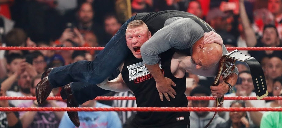 Brock Lesnar getting ready to F5 Goldberg