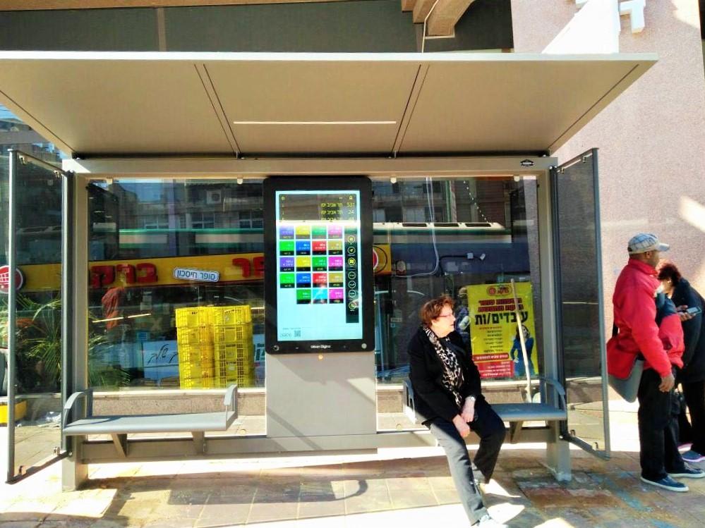 digital schedule readouts in buss stop