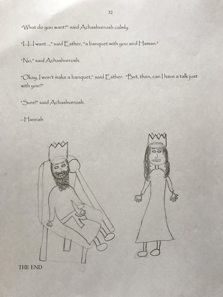 "A page from Hannah Rubenstein's contribution to her fifth-grade class compilation, ""Choose Your Own Megillah"""