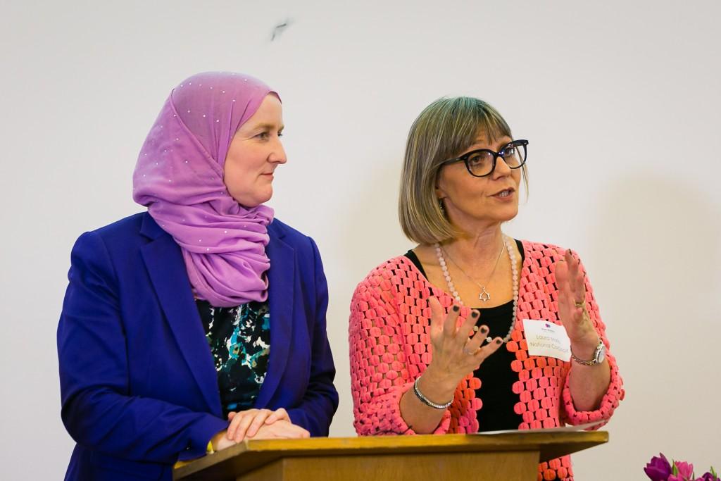 Jullie Siddiqi and Laura Marks at the Nisa-Nashim inaugural conference. Photo credit: Yakir Zur