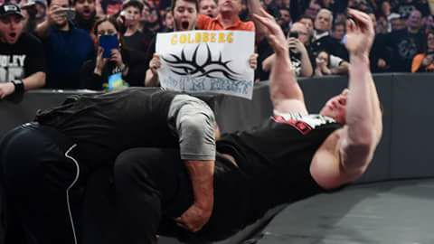 (Photo Credit: WWE.com) One last spear before their WrestleMania Match