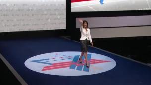 Embaixadora dos EUA na ONU, Nikki Haley, foi recebida sob forte aplausos na conferência da AIPAC, Washington, DC, 27 de março de 2017 (AIPAC imagem)