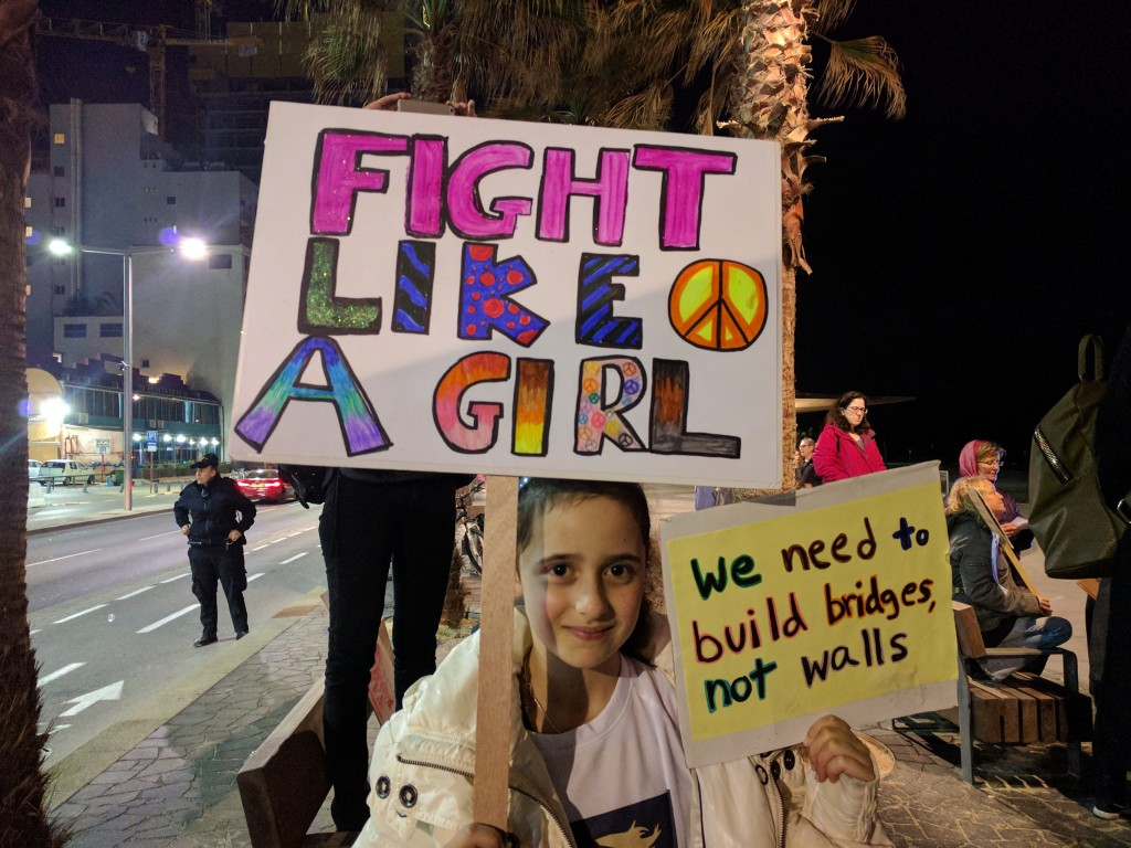 At the Tel Aviv solidarity rally with the Women's March on January 21, 2017 (courtesy)