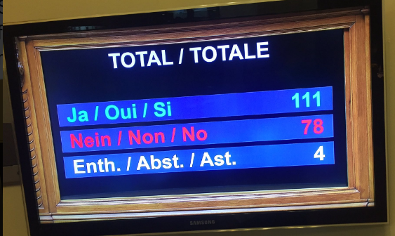 The final tally of the Swiss Parliament vote