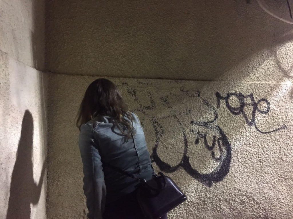 Malka covers over the graffiti. Photo by Deborah Danan