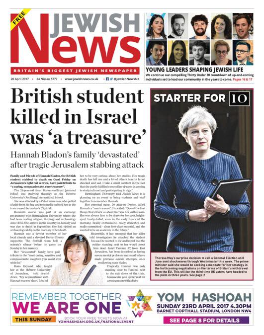Last week's front page of the newspaper, on the British victim of the Jerusalem terror attack and the looming UK General Election.