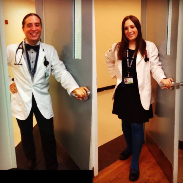Hannah Simpson, as she appeared in Medical School in September 2012, recreating the pose in January 2014.