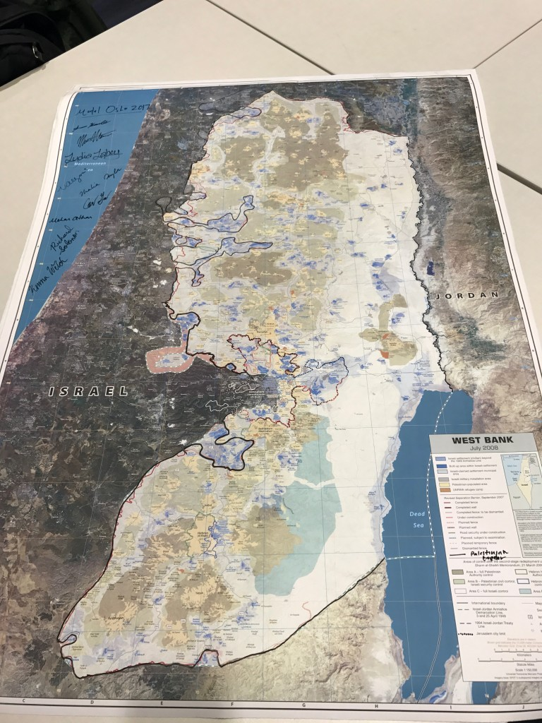 Map of the West Bank with a boarder for Israel and a future Palestinian State.