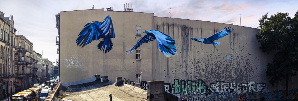 """Eagles"" located at ul. Próchnika 15 in Lodz. Designed by Karolina Tłuczek and Konrad Koch. Photo by Kamil Holwek."