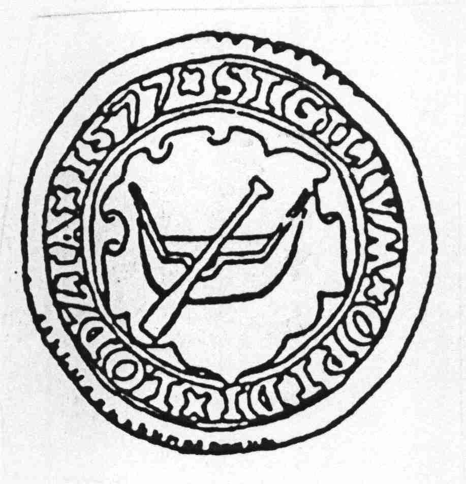 A town seal of Lodz (Łódź) from 1577. Wikipedia.