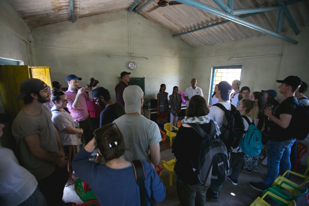 GPM founder Jacob Sztokman and Ben Azzai participants talking to local teachers at the GPM nursery in Ashte Village. Credit: Bombay Arthouse