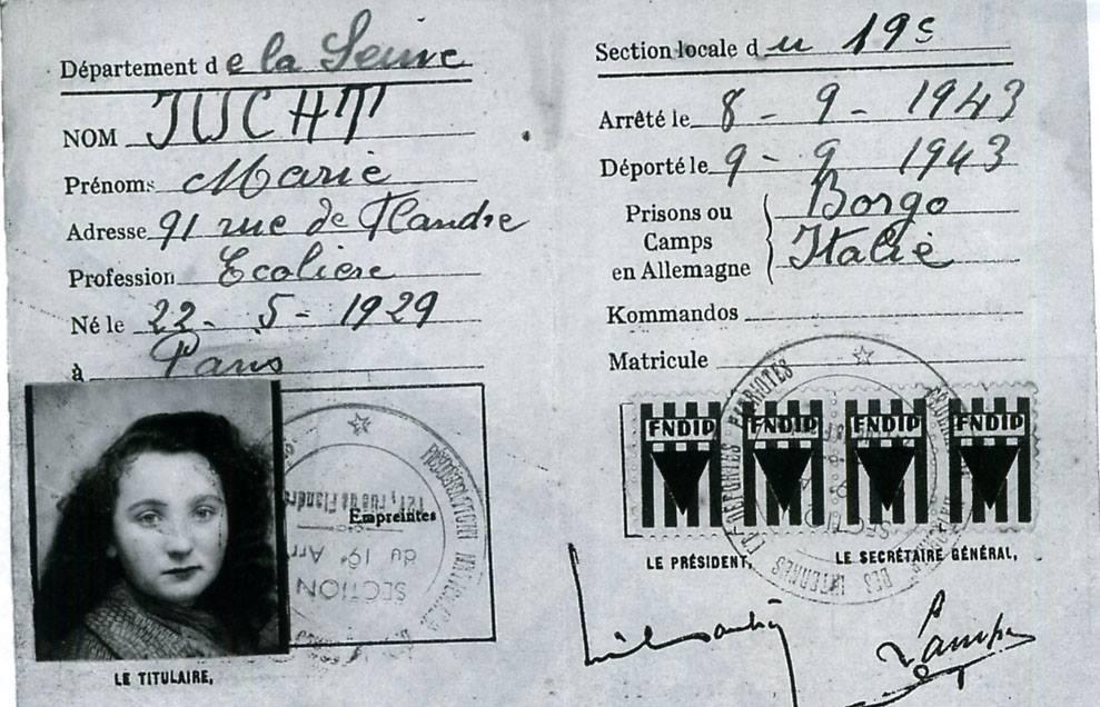 Marie Jucht Holocaust document