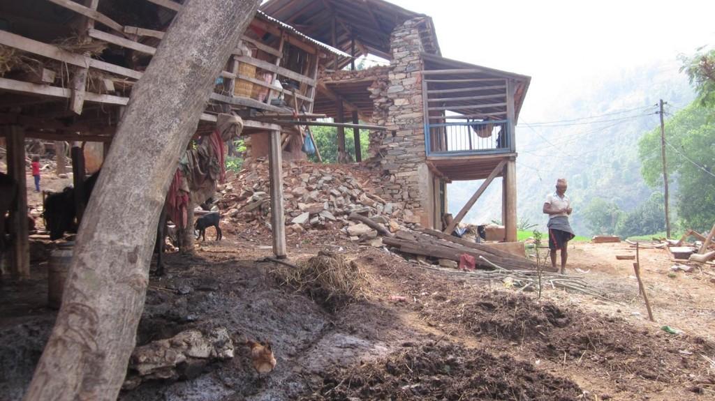 Destroyed village houses Ramichap, Nepal