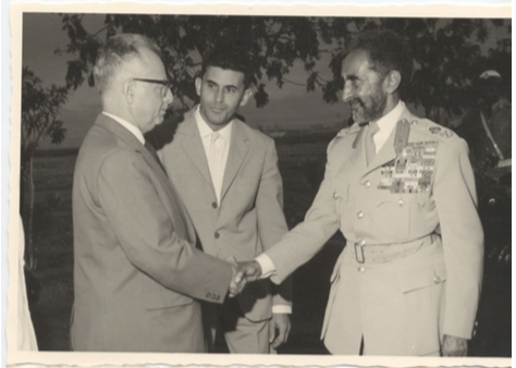 Dr. Werner Nisal, with Emperor Haille Selassie of Ethiopia Photo provided by Gil Nisal from family collection