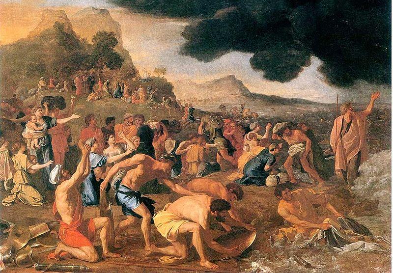 """Crossing of the Red Sea,"" Nicolas Poussin (photo credit: Public domain, via Wikimedia Commons)"