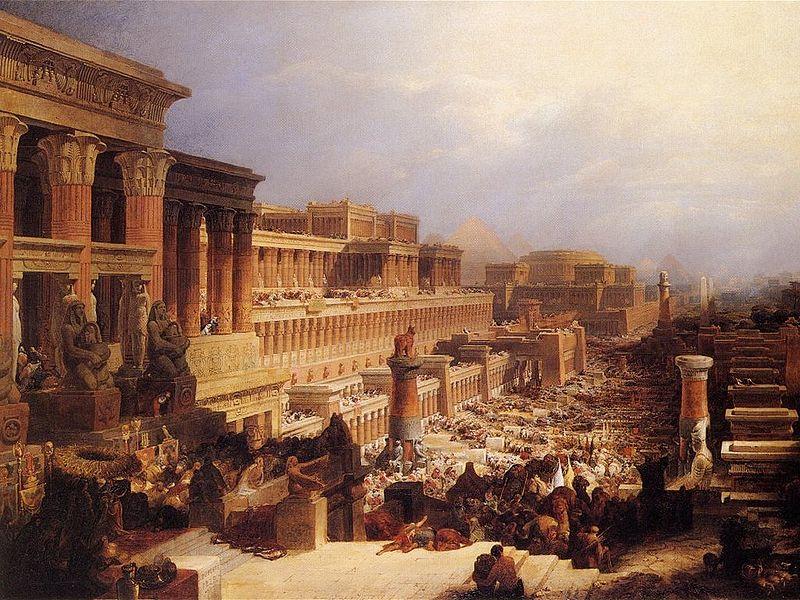 """The Israelites Leaving Egypt,"" by David Roberts. (photo credit: Public domain, via Wikimedia Commons)"