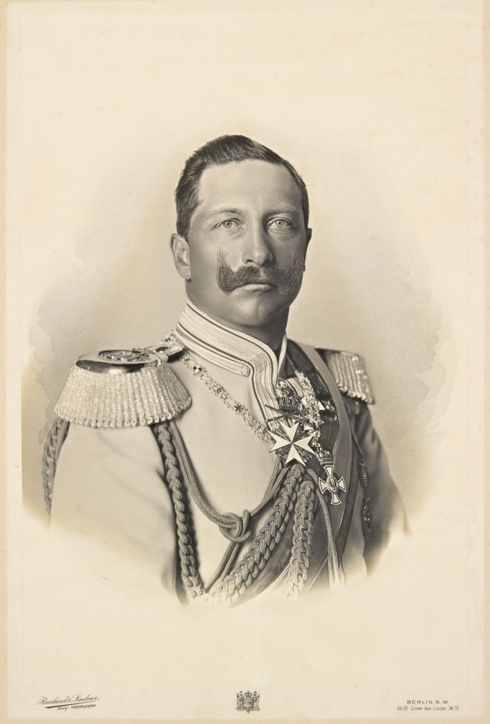 Wilhelm II, 1898. Photo pasted on cardboard. The Emperor wears the chain and the Cross of the Royal House Order of Hohenzollern and the Johanniter cross. (Wikimedia)