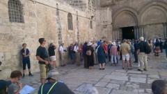Christian Pilgrims at the Church of the Holy Sepulchre on Sunday (Peta Jones Pellach)